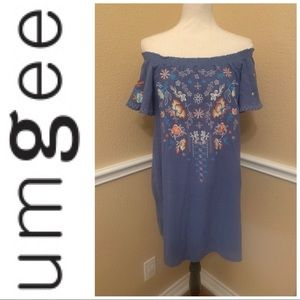 Umgee denim dress with embroidery